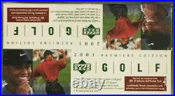 2001 Upper Deck Golf Rack BOX From Sealed Case FASC Tiger Woods Rookies/Inserts