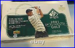 2001 Upper Deck SP Authentic Golf Box Tiger Woods Autograph Sign of The Times RC