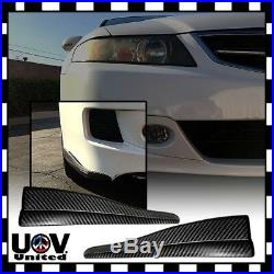 2PC Carbon Fiber Front Rear Bumper Corner Lip Side Strap Guard Scratch Protector