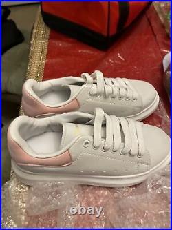 Alexander McQueen Women's White Sneaker Pink Size 8.5 Authentic No Box