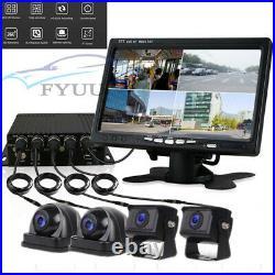 Car Waterproof 4CH 720P AHD DVR Box 7 HD Monitor With 4 Pcs CCD Reverse Camera