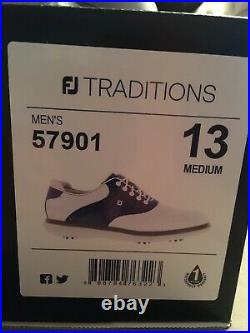 FootJoy Traditions Golf Shoes NEW IN BOX! White and Navy Saddle