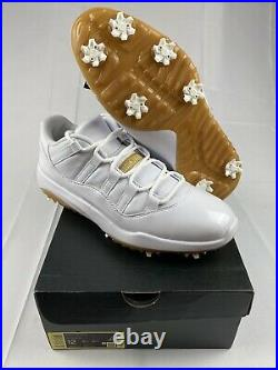 Jordan 11 XI White Gold Golf Shoes Mens Size 12 AQ0963-102 Tiger New In Box