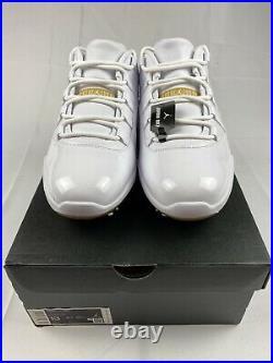 Jordan 11 XI White Gold Golf Shoes Mens Size 13 AQ0963-102 Tiger New In Box