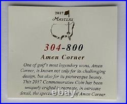 Masters golf coin amen corner limited edition 304/800 augusta national pga new
