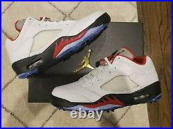 Nike Air Jordan V Low Golf Shoes SIZE 10 BRAND NEW IN BOX White / Fire Red