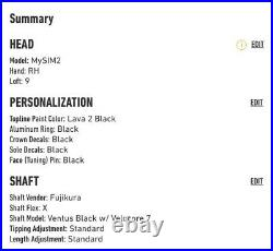 TaylorMade MySiM2 Driver Custom All Black Ventus Black XStiff Box Unopened