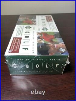 Upper Deck 2001 Golf Premiere Edition Factory Sealed Rackpack Box Tiger Woods RC